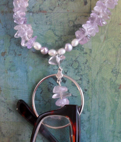 Amethyst,&,Freshwater,Pearl,Beaded,EYEGLASS,HOLDER,NECKLACE,/,Loop,Eyeglass,Chain,Unique,Lanyard,Gift,for,Her,Boxed,Accessories,Designer,One_Of_A_Kind,Hand_Made,Necklace,Gemstone,Eyeglass_Chain,Eyeglass_Holder,Lavender,Unique_Gift,Canteam,beaded_lanyard