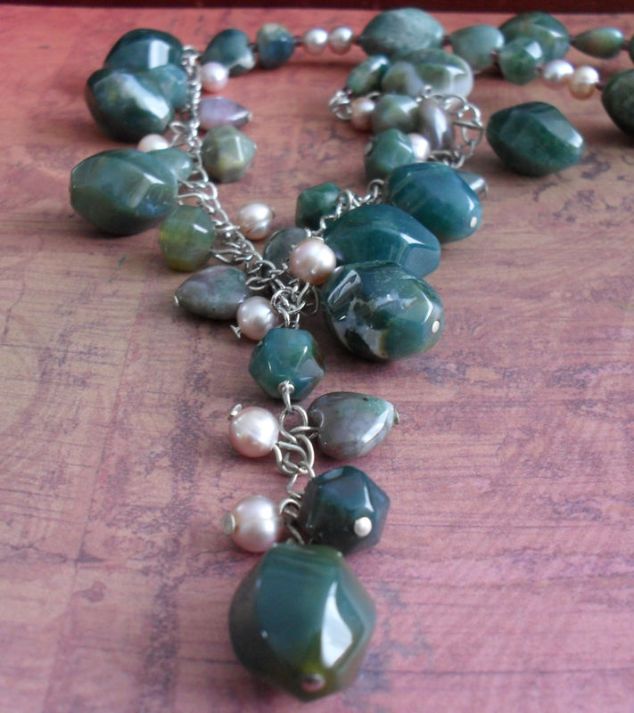 Green JASPER & Freshwater PEARL Beaded Gemstone NECKLACE // Semi Precious Stone // Unique // Gift For Her / Gift Boxed - product image
