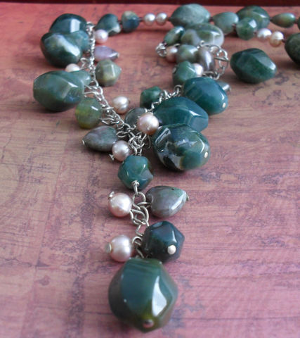 Green,JASPER,&,Freshwater,PEARL,Beaded,Gemstone,NECKLACE,//,Semi,Precious,Stone,Unique,Gift,For,Her,/,Boxed,Jewelry,Necklace,Canadian,Bjeweled_Vintage,Designer,One_Of_A_Kind,Hand_Made,Silver,Jasper,Freshwater_Pearls,Unique_Gift