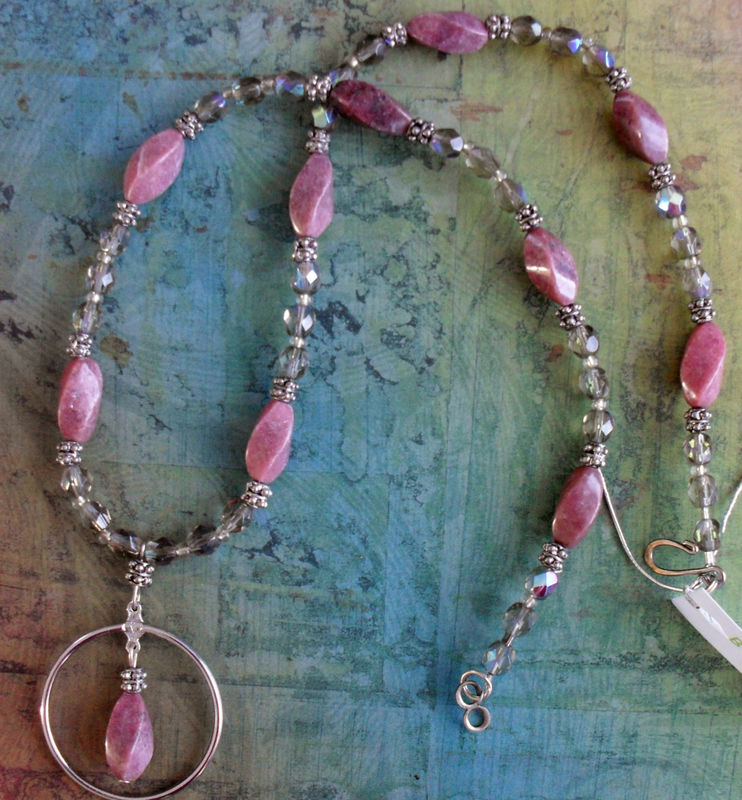 Rhodonite & Vintage Czechoslovakian Crystal  Beaded EYEGLASS HOLDER NECKLACE / Loop / Eyeglass Chain / Lanyard / Unique Gift for Her - product image