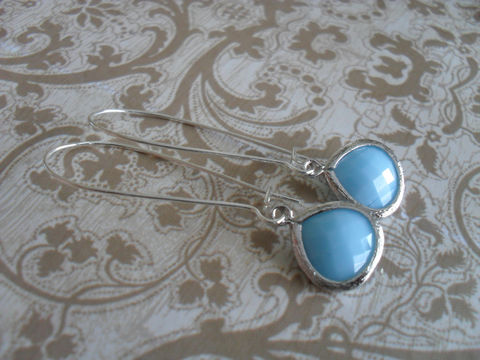 MILKY,SKY,BLUE,Drop,Earrings,/,Light,Turquoise,Jade,Faceted,Glass,Silver,Dangle,Bridesmaid,Simple,Gift,boxed,Jewelry,Nickel_Free,Faceted_Glass,White_Gold,Sky_Blue,Milky_Blue,Canteam,Bridesmaid_Earrings,Sky_Blue_Earrings,Light_Blue_Earrings,Gift_Boxed