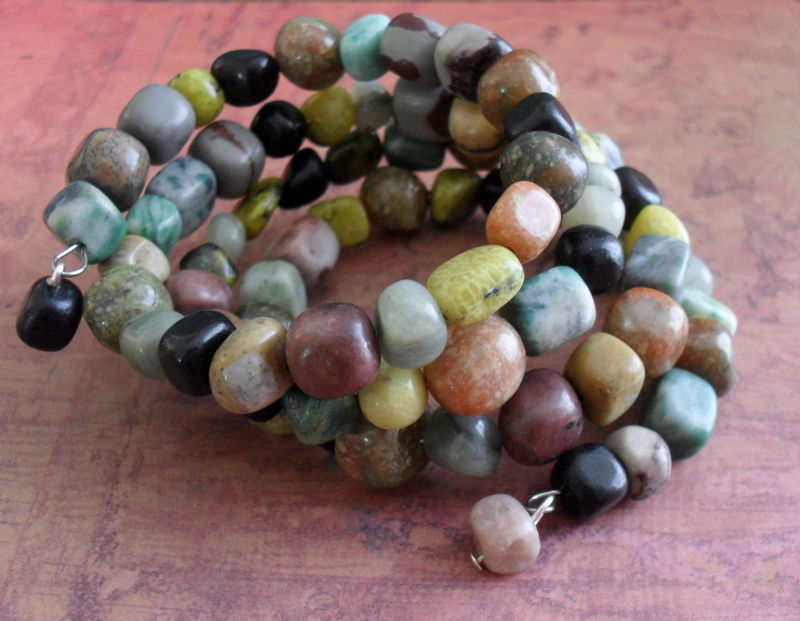 Mixed GEMSTONE BEADED Wrap BRACELET // Natural Stone // Neutrals //  Natural Stone Wrap Bracelet / Unique Gift For Her - product image