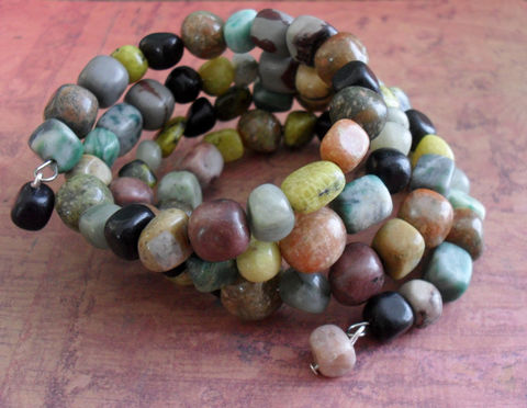 Mixed,GEMSTONE,BEADED,Wrap,BRACELET,//,Natural,Stone,Neutrals,Bracelet,/,Unique,Gift,For,Her,Jewelry,Earrings,Canadian,Designer,One_Of_A_Kind,Hand_Made,Rainbow,Gemstones,Memory_Wire,Natural_Stone,Unique_Gift,Canteam,stone_wrap_bracelet