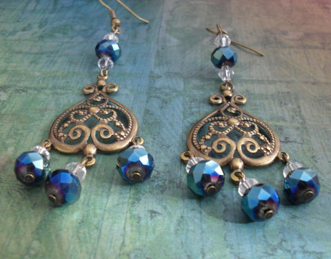 Iridescent,Bluish,Black,CRYSTAL,CHANDELIER,EARRINGS,/,Filigree,Earrings,Antique,Brass,Elegant,Chandelier,Unique,Gift,boxed,Jewelry,Canadian,Designer,One_Of_A_Kind,Hand_Made,Vintage,Antique_Brass,Unique_Gift,Canteam,chandelier_earrings,crystal_earrings