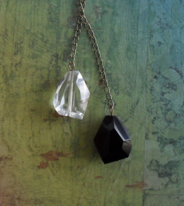 Black Onyx and Clear Quartz LARIAT / TIE NECKLACE // Simple // Unique gift for her // Gift boxed - product image