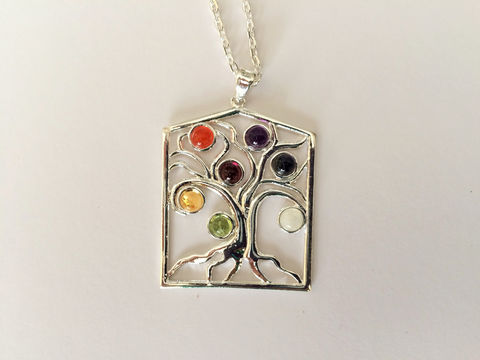 TREE,OF,LIFE,Silver,Chakra,Pendant,Necklace,/,Set,with,7,Semi,Precious,Gemstones,Healing,Gift,Boxed,Jewelry,healing_properties,made_in_Canada,chakra_necklace,tree_of_life,tree_of_life_jewelry,tree_of_life_pendant,meditation_necklace,healing_necklace,gemstone_necklace,chakra_balancing,gift_for_her,jeweled_tree_of_life,boho_necklace