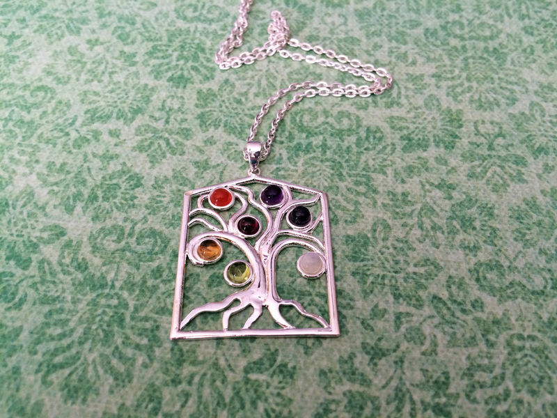 TREE OF LIFE Silver Chakra Pendant Necklace / Set with 7 Semi Precious Gemstones / Healing Necklace / Gift Boxed - product image