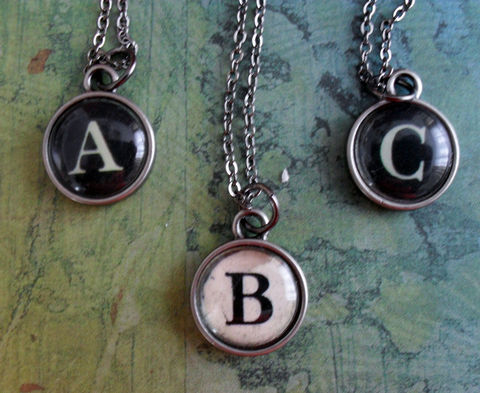 Vintage,Typewriter,Key,Initial,Necklace,/,Personalized,Gift,boxed,Jewelry,Canadian,Designer,Retro,Typewriter_Key,Watchmaker_Case,Gunmetal,Letter,Unique_Gift,Canteam,personalized,necklace