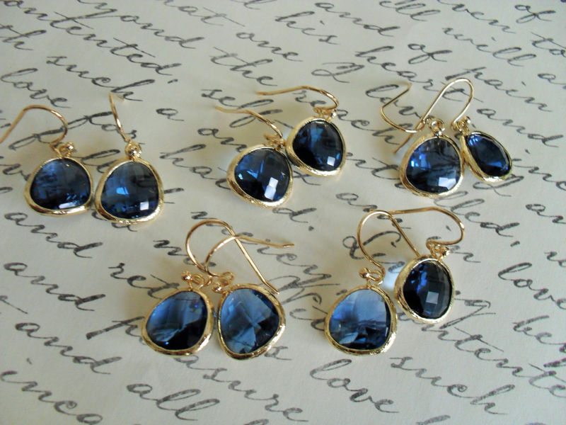 Bridesmaid Set of 5 Pairs // Gold Framed Faceted SAPPHIRE BLUE Drop EARRINGS // Midnight Blue //  Glass // Dangle //  Simple // Elegant - product image