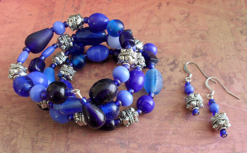 Bewitching Blues Beaded Wrap BRACELET & EARRINGS SET / Beautiful blues / Gift for Her / Blue glass beaded bracelet set / Shades of Blue - product images