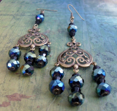 Stunning,Iridescent,BLACK,CRYSTAL,Chandelier,Earrings,/,Filigree,Peacock,french,Jet,Elegant,Classy,Gift,for,Her,Jewelry,Canadian,Designer,One_Of_A_Kind,Hand_Made,Crystal,Vintage,Antique_Brass,Black,Unique_Gift,Canteam,chandelier_earrings