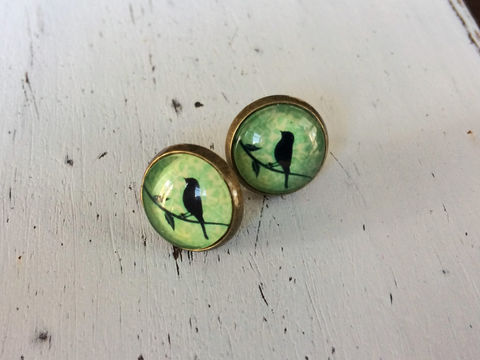 BIRD,in,TREE,Glass,Stud,EARRINGS,/,Cute,Studs,Antique,Brass,Gift,for,Her,under,10,dollars,gift,boxed,Jewelry,Earrings,Canadian,Hand_Made,Gift_For_Her,Cute_Earrings,Unique_Gift,Canteam,glass_cabochon,under_10_dollars,glass_studs,bird_earrings,bird_in_tree,bird_studs,bird_on_branch