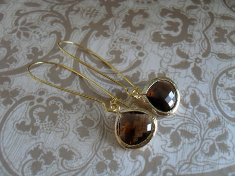 Stunning,SMOKEY,QUARTZ,Glass,Drop,EARRINGS,/,Faceted,Gold,Framed,Dangle,Bridesmaid,Bridal,Simple,Gift,Boxed,Jewelry,Earrings,Nickel_Free,Faceted_Glass,Framed_Glass,Bridesmaid_Jewelry,Smokey_Quartz,Bridesmaid_Earrings,Brown_Earrings,Bridal_Jewellery,Gift_Boxed,Drop_Earrings