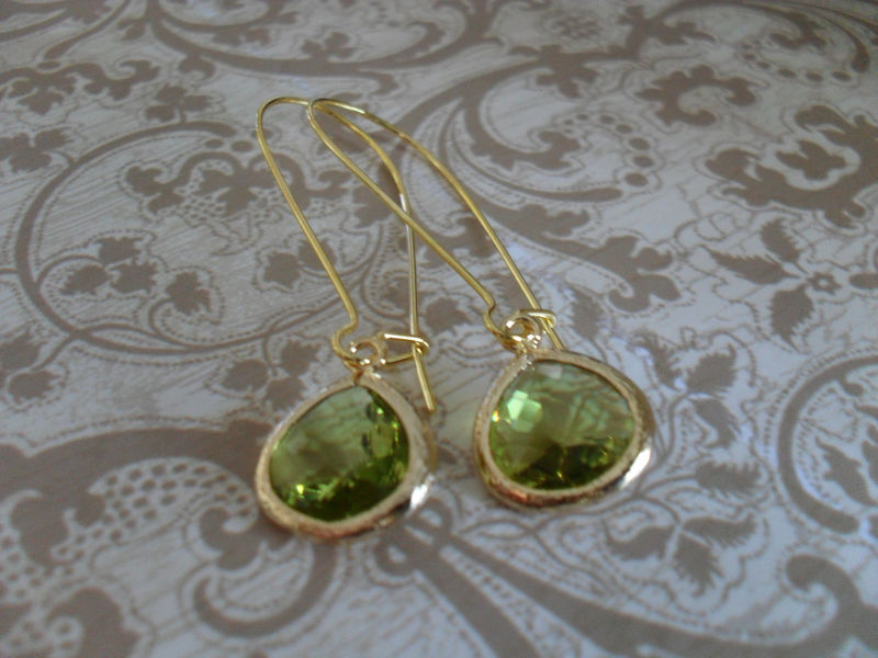 Apple Green Glass Drop EARRINGS // Faceted Glass // Gold // Framed Glass // Dangle // Bridesmaid Earrings // Bridal // Simple // Gift Boxed - product image