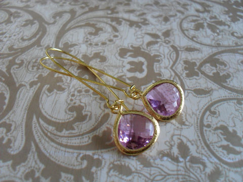LAVENDER,Glass,Drop,EARRINGS,//,Light,Purple,Faceted,Gold,Framed,Dangle,Bridesmaid,Earrings,Bridal,Simple,Jewelry,Wedding,Faceted_Glass,Framed_Glass,Bridesmaid_Jewelry,Lavender,Light_Purple,Bridesmaid_Earrings,Lavender_Earrings,Glass_Drop_Earrings,Pale_Purple_Earrings