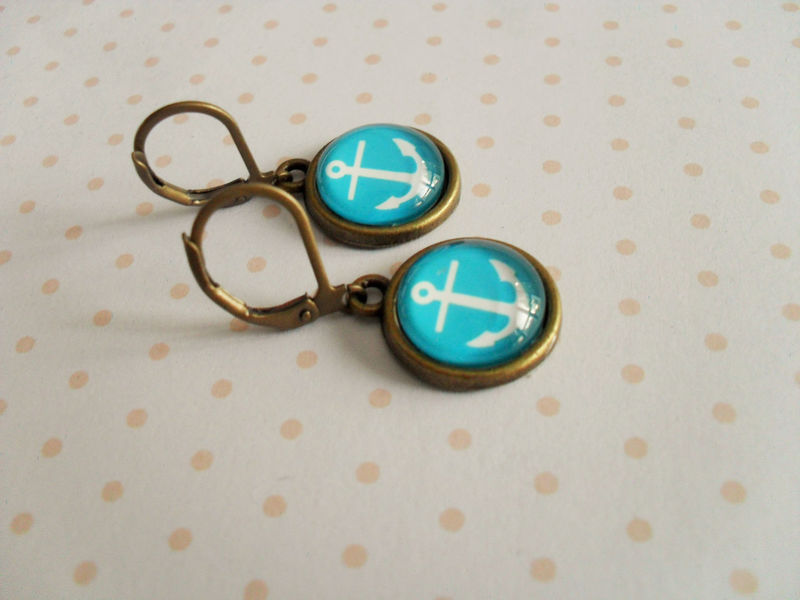 ANCHOR EARRINGS / Anchors Away / Antique Brass / Glass Earrings / Gift for Her / Nautical / turquoise / under 10 dollars / Gift boxed - product image