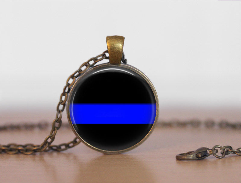 Thin Blue Line NECKLACE / Police Pendant / Personalized Gift for Her / Law Enforcement / Blue Lives Matter / Police Officer gift / Gift box - product images