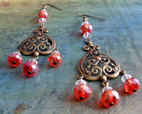 Mandarin,ORANGE,Crystal,CHANDELIER,EARRINGS,/,Filigree,Antiqued,Brass,Hyacinth,Unique,Gift,for,Her,Orange,crystal,Earrings,gift,box,Jewelry,Canadian,Designer,One_Of_A_Kind,Hand_Made,Vintage,Antique_Brass,Unique_Gift,Canteam,orange_crystal,crystal_earrings,orange_earrings,filigree_earrings