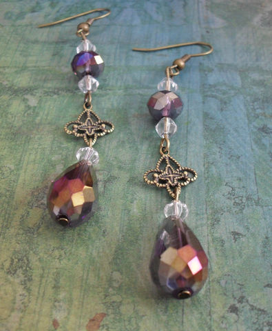 VINTAGE,STYLED,Smokey,Purple,Crystal,Drop,EARRINGS,/,Filigree,Elegant,Unique,Gift,for,Her,Victorian,Style,Earrings,Boxed,Jewelry,Canadian,One_Of_A_Kind,Hand_Made,Antique_Brass,Vintage,Unique_Gift,Canteam,victorian_style,earrings