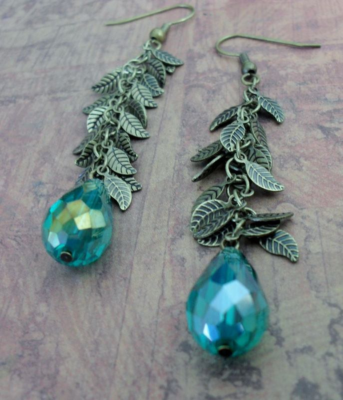Iridescent EMERALD Green Crystal & LEAF Chain Drop EARRINGS / Pretty / Organic / Antiqued Brass / leaf and crystal earrings / gift boxed - product images