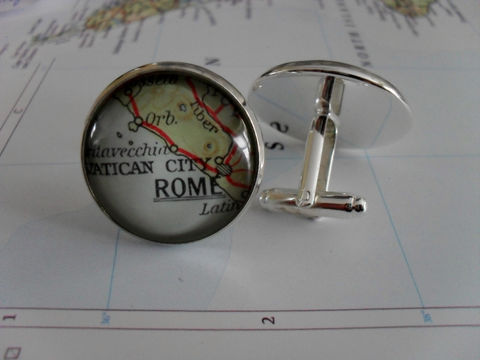 ROME,ITALY,,,Vatican,City,Map,Silver,Cufflinks,/,Vintage,map,cuff,links,Father's,Day,groomsmen,gift,Personalized,Gift,for,him,boxed,Weddings,Jewelry,Canadian,Hand_Made,Fathers_Day_Gift,Groomsmen_Gift,Gift_For_Him,Custom,Rome,Italy,Vatican_City,Unique_Gift