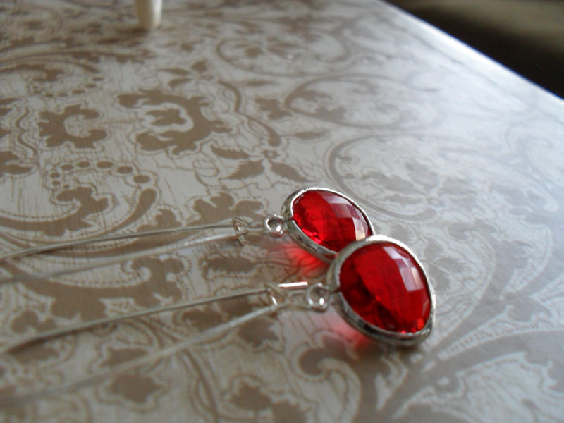 RUBY RED Drop EARRINGS // Faceted Glass // Silver // Dangle // Bridesmaid // Bridal // Simple // Gift boxed - product image