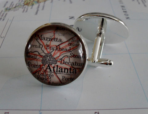ATLANTA,Georgia,Map,Silver,CUFF,LINKS,//,Father's,Day,groomsmen,gift,Gift,for,Him,2,sizes,map,cufflinks,Boxed,Weddings,Jewelry,Canadian,Bjeweled_Vintage,Hand_Made,Vintage_Map,Fathers_Day_Gift,Groomsmen_Gift,Atlanta,Decatur,Map_Cufflinks,Unique_Gift,map_cuff_links
