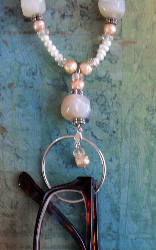 Agate, Freshwater Pearl & Crystal  Beaded EYEGLASS HOLDER NECKLACE / Natural Stone / Loop / Eyeglass Chain / Beaded Lanyard / Gift Boxed - product image