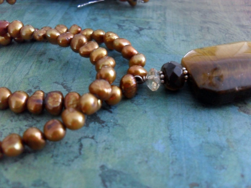 Glowing TIGEREYE and Bronze PEARL Beaded NECKLACE / Semi Precious / Natural stone / Browns / Natural Stone Necklace / Gift for Her / - product image