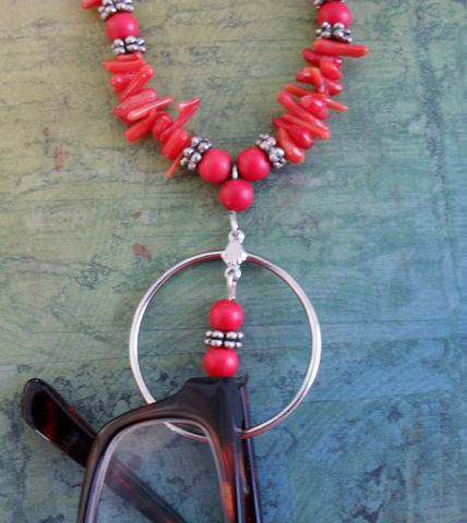 Vibrant,Red,Coral,Beaded,EYEGLASS,HOLDER,NECKLACE,/,Loop,Eyeglass,Chain,Lanyard,Necklace,Unique,Gift,for,Her,Boxed,Accessories,Eyewear,Hand_Made,Eyeglass_Chain,Eyeglass_Holder,Branch_Coral,Red_Coral,Unique_Gift,Canteam,beaded_lanyard,loop_necklace,semi_precious