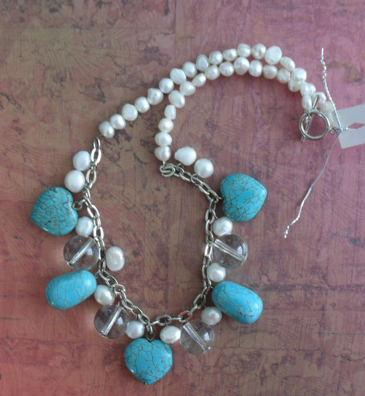 TURQUOISE Hearts & Freshwater PEARL Beaded NECKLACE / semi precious / Summery Necklace / Unique Gift for Her / Natural Stone Necklace - product image