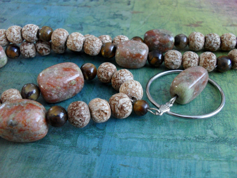 Jasper Tigereye & Cork Beaded EYEGLASS HOLDER NECKLACE / Loop Necklace / Unique Gift for Her / Beaded Eyeglass Chain / Beaded Stone Lanyard - product image