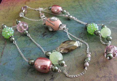 Spring,Pinks,and,Greens,Long,Beaded,NECKLACE,&,EARRINGS,SET,/,Pastel,Unique,Gift,for,Her,Sterling,Silver,boxed,Jewelry,Canadian,Designer,One_Of_A_Kind,Hand_Made,Crystal,Vintage,Pink,Green,Set,Unique_Gift,Canteam,pastel_necklace_set,sterling_silver