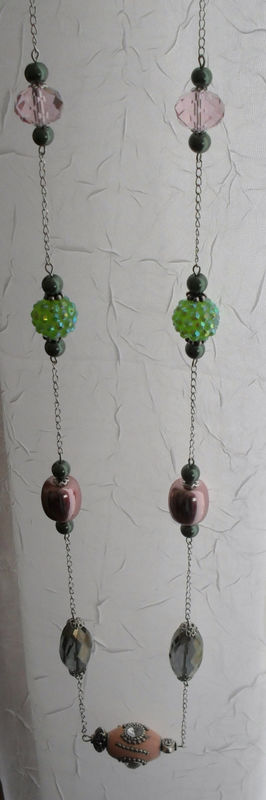 Spring Pinks and Greens Long Beaded NECKLACE & EARRINGS SET / Pastel / Unique Gift for Her / Sterling Silver / Gift boxed - product image