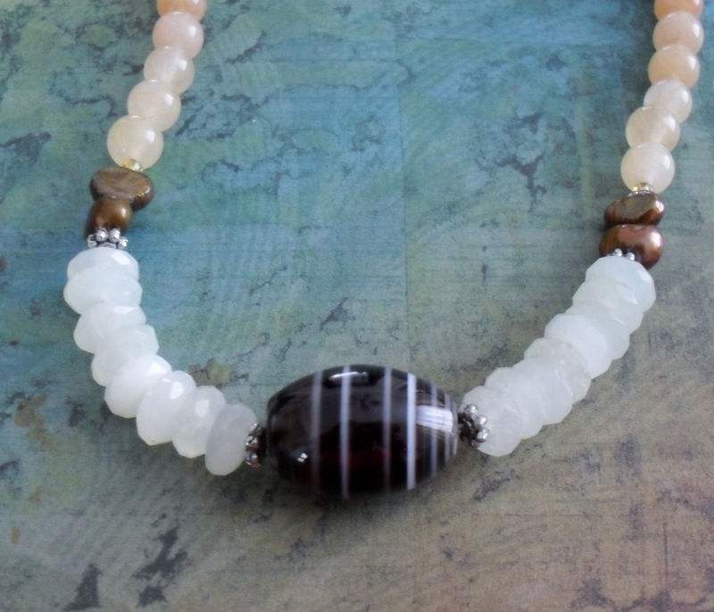 Striped Agate, Jade & Pearl BEADED GEMSTONE NECKLACE / Semi Precious Stone Necklace / Natural Stone / Unique Gift For Her / Gift Boxed - product image
