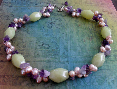 AMETHYST,,JADE,&,Freshwater,PEARL,Beaded,Necklace,/,Lime,Green,Purple,and,Intricate,Hand,Necklace/,Gift,for,Her,Jewelry,Canadian,One_Of_A_Kind,Hand_Made,Amethyst,Jade,Sterling_Silver,Freshwater_Pearl,Unique_Gift,lime_and_purple,natural_stone,beaded_necklace