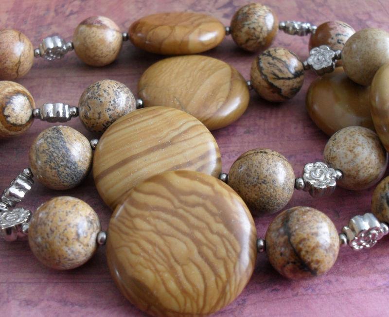 Tigerskin and Picture Jasper BEADED GEMSTONE NECKLACE / Natural Stone Necklace / Semi Precious / Unique Gift for Her / Gift Boxed - product image