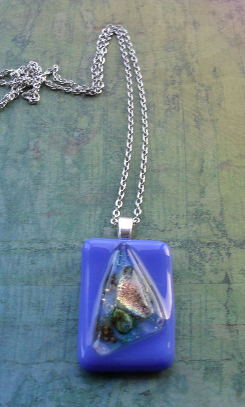 Periwinkle Blue and Iridescent FUSED glass / DICHROIC glass pendant necklace / Hand Crafted / One of a kind /Blue Glass Necklace / Gift Box - product image
