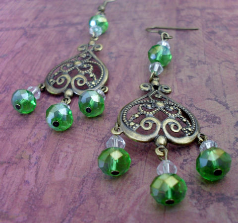 Peridot,GREEN,Crystal,CHANDELIER,EARRINGS,/,Spring,Green,Antique,Brass,Filigree,Earrings,Pretty,Gift,for,Her,Boxed,Canada,Jewelry,Canadian,One_Of_A_Kind,Hand_Made,Vintage,Antique_Brass,Spring_Green,Unique_Gift,Canteam,green_crystal,chandelier_earrings,filigree_earrings