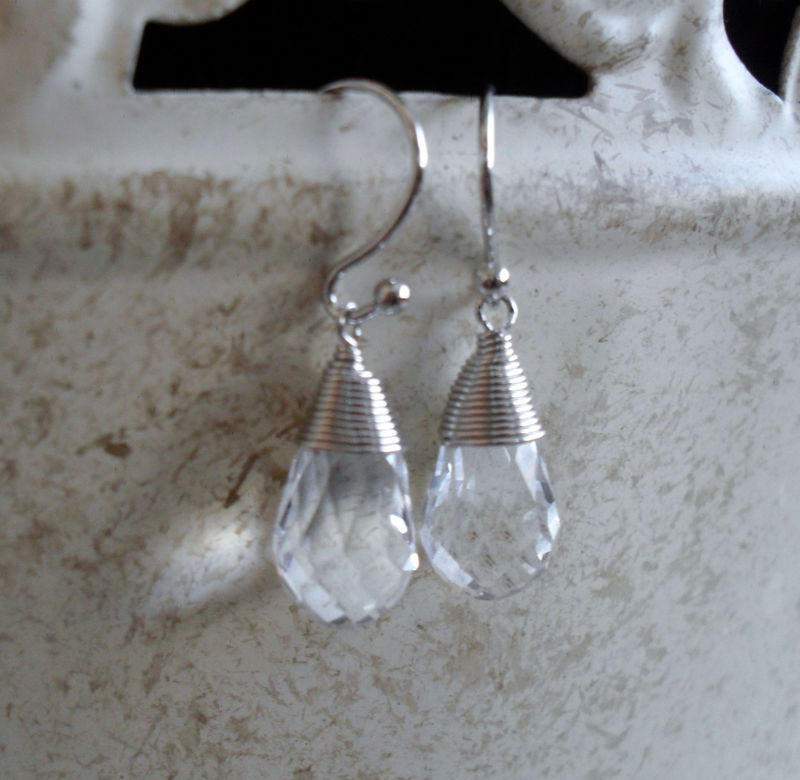 CLEAR CRYSTAL Drop EARRINGS / Silver wire wrapped / Tear Drop Crystal  / Dangle / Simple / Sparkling / bridesmaid earrings / gift boxed - product image