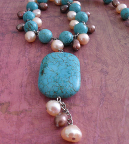 TURQUOISE,&,Freshwater,PEARL,Beaded,NECKLACE,/,Semi,Precious,Natural,Stone,Necklace,Hand,beaded,Gift,for,Her,Boxed,Jewelry,Canadian,Designer,One_Of_A_Kind,Hand_Made,Turquoise,Freshwater_Pearl,Semi_Precious,Hand_Beaded,Unique_Gift,Gift_For_Her,Canteam,natural_stone,beaded_necklace