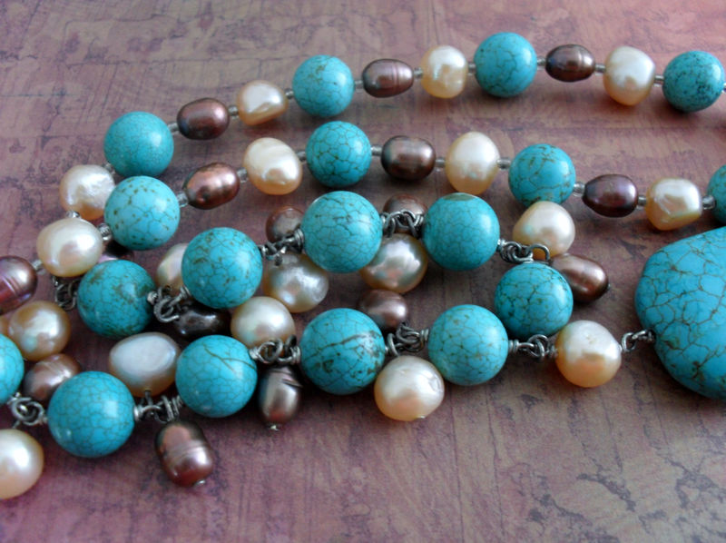 TURQUOISE & Freshwater PEARL Beaded NECKLACE / Semi Precious /  Natural Stone Necklace / Hand beaded / Gift for Her / Gift Boxed - product image