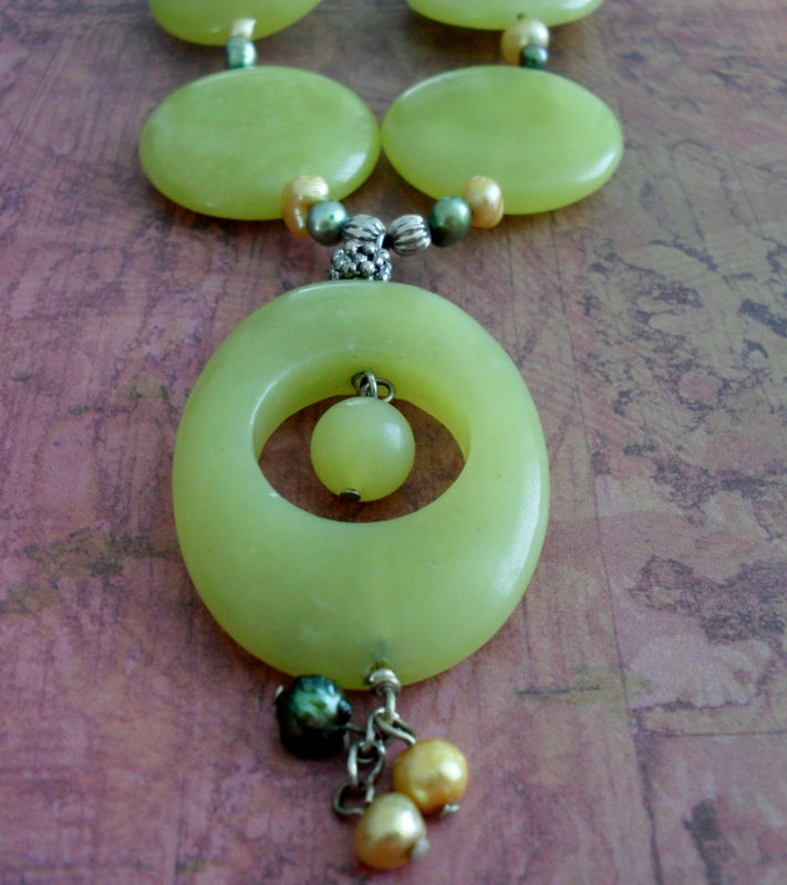 Chunky CITRUS Malaysian JADE & PEARL Beaded Necklace / Semi Precious / Natural Stone / Spring Colors /Gift f or Her / Unique / Lime Green - product image