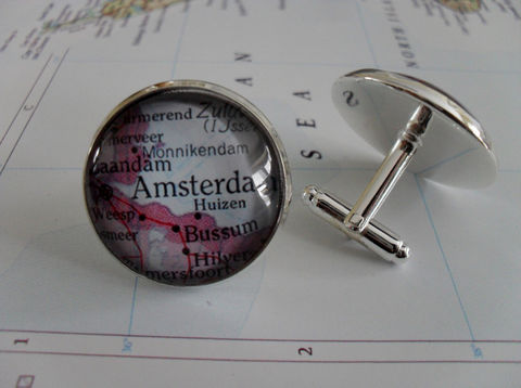 AMSTERDAM,The,Netherlands,Map,Silver,CUFF,LINKS,/,Father's,Day,Groomsmen,Gift,for,Him,cool,cufflinks,jewelry,Boxed,Weddings,Jewelry,Hand_Made,Cufflinks,Vintage_Map,Groomsmen_Gift,Glass_Domed,Gifts_For_Him,Wedding,Custom,Amsterdam,Map_Cufflinks,Unique_Gift