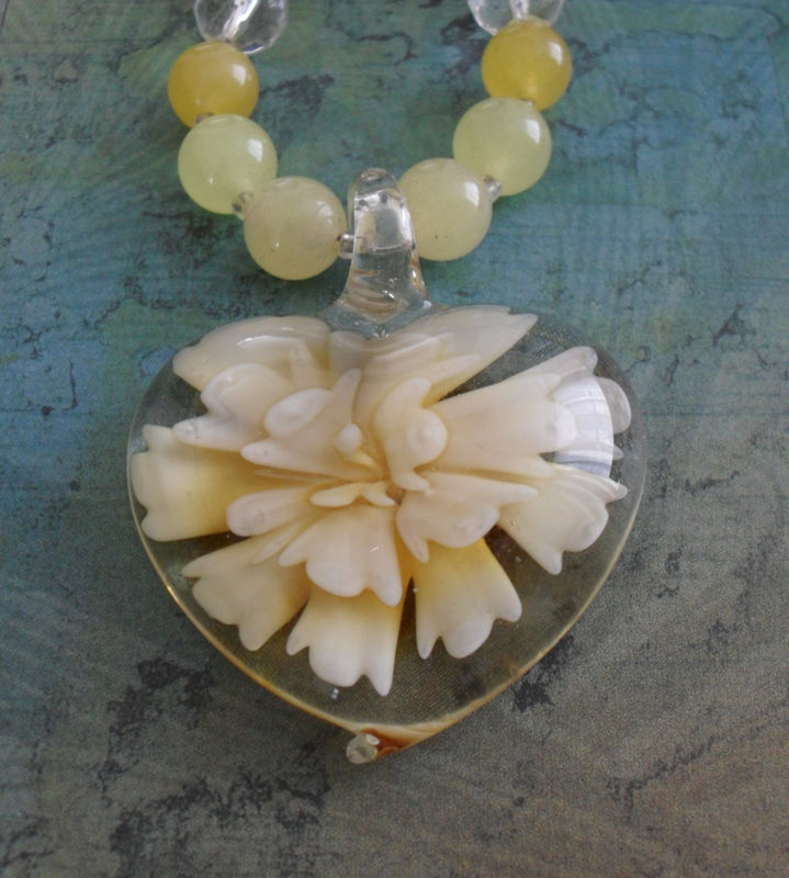 LEMON JADE and Floral Art Glass Pendant Beaded NECKLACE / Heart Pendant / Summer yellow necklace / Gift for Her / Gift Boxed - product image