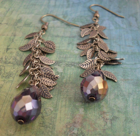 Smokey,PURPLE,Crystal,&,LEAF,Chain,Drop,EARRINGS,/,Pretty,Organic,Gift,for,Her,Autumn,Earrings,Antiqued,Bronze,Boxed,Jewelry,Canadian,Designer,One_Of_A_Kind,Hand_Made,Antique_Brass,Leaves,Unique_Gift,Canteam,leaf_earrings,purple_crystal,autumn_earrings