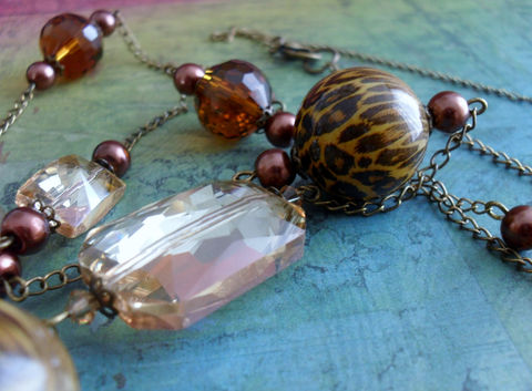 Beautiful,Browns,Long,Beaded,NECKLACE,&,EARRINGS,SET,/,Mothers,Day,Gift,for,Her,One,of,a,Kind,Shade,Brown,long,Necklace,Set,Jewelry,Canadian,Designer,One_Of_A_Kind,Hand_Made,Crystal,Vintage,Topaz,Antique_Brass,Unique_Gift,Canteam,brown_necklace_set