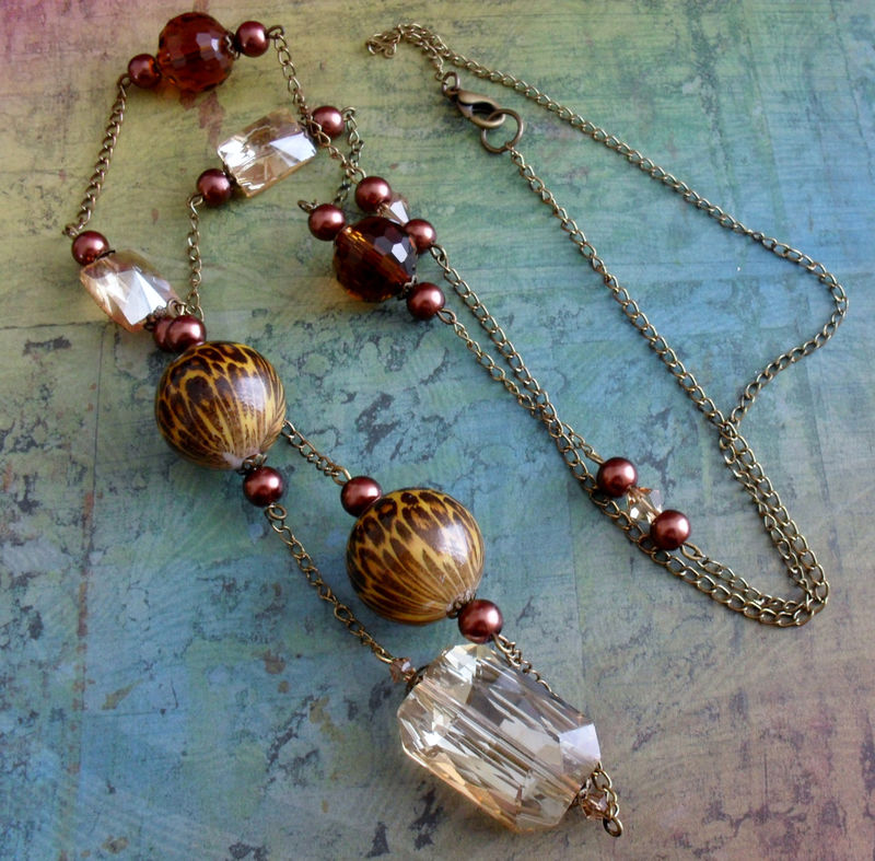 Beautiful Browns Long Beaded NECKLACE & EARRINGS SET / Mothers Day / Gift for Her / One of a Kind / Shade of Brown long Necklace Set - product image