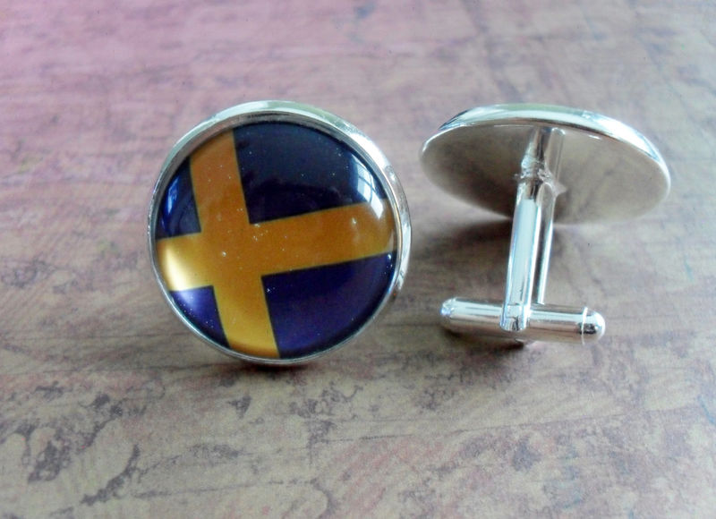 SWEDISH FLAG Silver Cufflinks // National Flag of SWEDEN // Father's Day // Groomsmen Gift // Wedding // Patriotic Cuff Links // Gift Boxed - product image