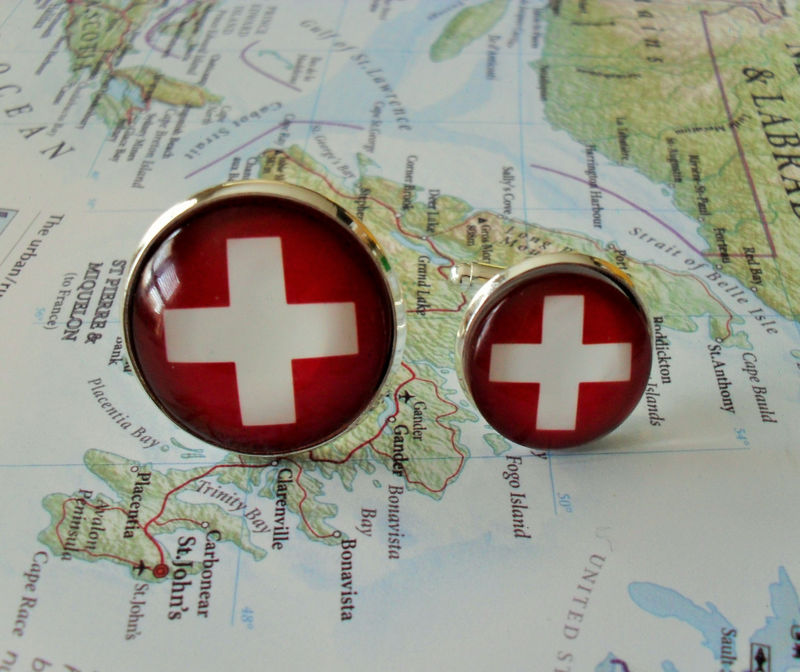SWISS FLAG Cufflinks / Flag of SWITZERLAND Cufflinks / Groomsmen Gift / Country Cufflinks /  Patriotic Cuff links / Flag jewery / Gift boxed - product image